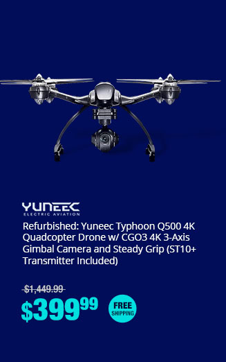 Refurbished: Yuneec Typhoon Q500 4K Quadcopter Drone w/ CGO3 4K 3-Axis Gimbal Camera and Steady Grip (ST10+ Transmitter Included)