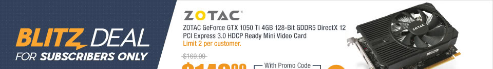 ZOTAC GeForce GTX 1050 Ti 4GB 128-Bit GDDR5 DirectX 12 PCI Express 3.0 HDCP Ready Mini Video Card