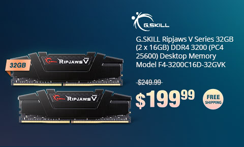 G.SKILL Ripjaws V Series 32GB (2 x 16GB) DDR4 3200 (PC4 25600) Desktop Memory Model F4-3200C16D-32GVK