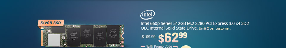 Intel 660p Series 512GB M.2 2280 PCI-Express 3.0 x4 3D2 QLC Internal Solid State Drive