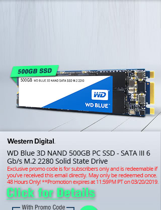 WD Blue 3D NAND 500GB PC SSD - SATA III 6 Gb/s M.2 2280 Solid State Drive - Click for Details