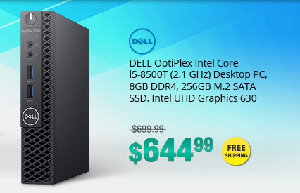 DELL OptiPlex Intel Core i5-8500T (2.1 GHz) Desktop PC, 8GB DDR4, 256GB M.2 SATA SSD, Intel UHD Graphics 630