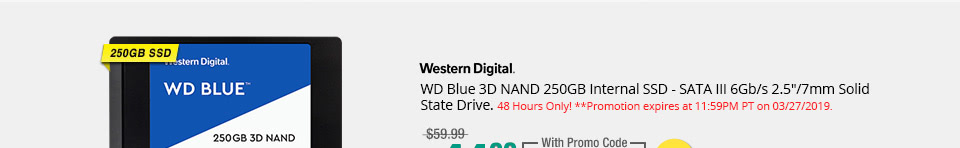"WD Blue 3D NAND 250GB Internal SSD - SATA III 6Gb/s 2.5""/7mm Solid State Drive"