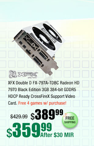 XFX Double D FX-797A-TDBC Radeon HD 7970 Black Edition 3GB 384-bit GDDR5 HDCP Ready CrossFireX Support Video Card