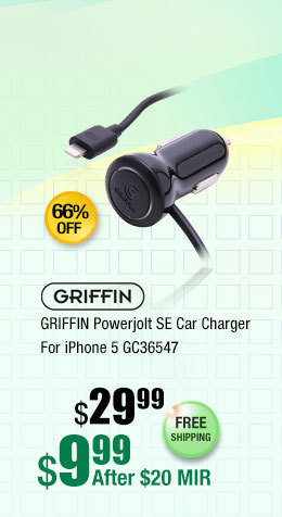 GRIFFIN Powerjolt SE Car Charger For iPhone 5 GC36547