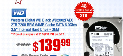 Western Digital WD Black WD2002FAEX 2TB 7200 RPM RPM 64MB Cache SATA 6.0Gb/s 3.5 inch Internal Hard Drive - OEM