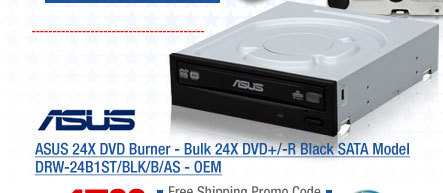 ASUS 24X DVD Burner - Bulk 24X DVD+/-R Black SATA Model DRW-24B1ST/BLK/B/AS - OEM