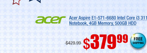 Acer Aspire E1-571-6680 Intel Core i3 3110M(2.40GHz) 15.6 inch Notebook, 4GB Memory, 500GB HDD