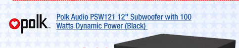 Polk Audio PSW121 12 inch Subwoofer with 100 Watts Dynamic Power (Black)