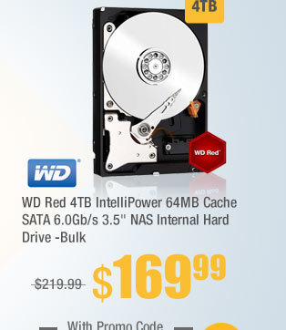 "WD Red 4TB IntelliPower 64MB Cache SATA 6.0Gb/s 3.5"" NAS Internal Hard Drive -Bulk"