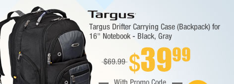 "Targus Drifter Carrying Case (Backpack) for 16"" Notebook - Black, Gray"