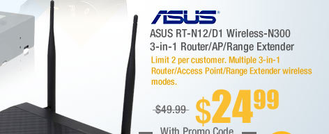 ASUS RT-N12/D1 Wireless-N300 3-in-1 Router/AP/Range Extender
