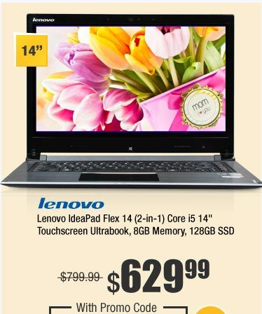 "Lenovo IdeaPad Flex 14 (2-in-1) Core i5 14"" Touchscreen Ultrabook, 8GB Memory, 128GB SSD"