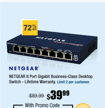 NETGEAR 8 Port Gigabit Business-Class Desktop Switch - Lifetime Warranty