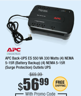 APC Back-UPS ES 550 VA 330 Watts (4) NEMA 5-15R (Battery Backup) (4) NEMA 5-15R (Surge Protection) Outlets UPS