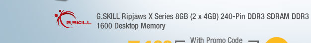 G.SKILL Ripjaws X Series 8GB (2 x 4GB) 240-Pin DDR3 SDRAM DDR3 1600 Desktop Memory