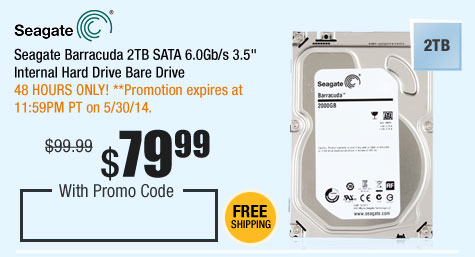"Seagate Barracuda 2TB SATA 6.0Gb/s 3.5"" Internal Hard Drive Bare Drive"