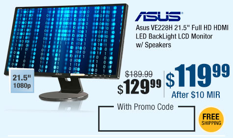 "Asus VE228H 21.5"" Full HD HDMI LED BackLight LCD Monitor w/Speakers"