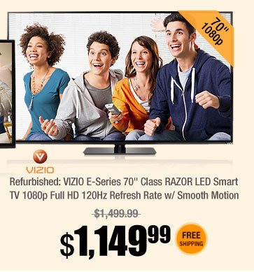 "Refurbished: VIZIO E-Series 70"" Class RAZOR LED Smart TV 1080p Full HD 120Hz Refresh Rate w/ Smooth Motion"