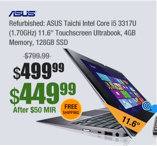 "Refurbished: ASUS Taichi Intel Core i5 3317U (1.70GHz) 11.6"" Touchscreen Ultrabook, 4GB Memory, 128GB SSD"