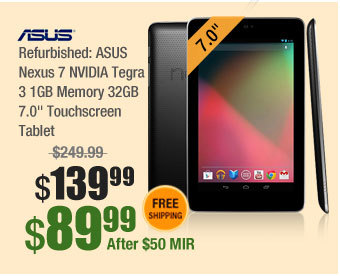 "Refurbished: ASUS Nexus 7 NVIDIA Tegra 3 1GB Memory 32GB 7.0"" Touchscreen Tablet"