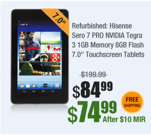 "Refurbished: Hisense Sero 7 PRO NVIDIA Tegra 3 1GB Memory 8GB Flash 7.0"" Touchscreen Tablets"