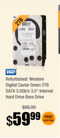 "Refurbished: Western Digital Caviar Green 2TB SATA 3.0Gb/s 3.5"" Internal Hard Drive Bare Drive"