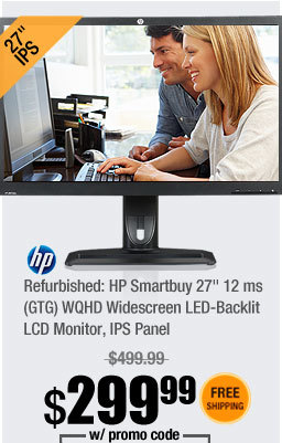 "Refurbished: HP Smartbuy 27"" 12 ms (GTG) WQHD Widescreen LED-Backlit LCD Monitor, IPS Panel"