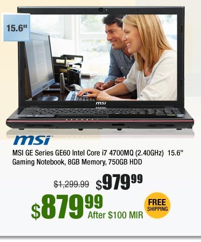 "MSI GE Series GE60 Intel Core i7 4700MQ (2.40GHz) 15.6"" Gaming Notebook, 8GB Memory, 750GB HDD"