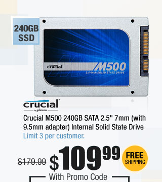 "Crucial M500 240GB SATA 2.5"" 7mm (with 9.5mm adapter) Internal Solid State Drive"
