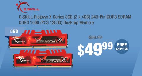 G.SKILL Ripjaws X Series 8GB (2 x 4GB) 240-Pin DDR3 SDRAM DDR3 1600 (PC3 12800) Desktop Memory