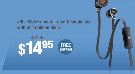 JBL J33A Premium in-ear headphones with microphone Black