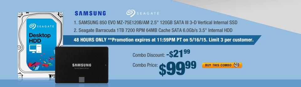 "Combo: SAMSUNG 850 EVO MZ-75E120B/AM 2.5"" 120GB SATA III 3-D Vertical Internal SSD; Seagate Barracuda 1TB 7200 RPM 64MB Cache SATA 6.0Gb/s 3.5"" Internal HDD"