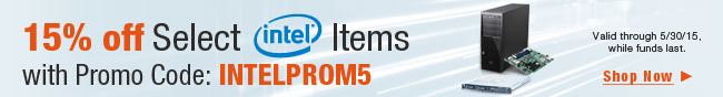15% off select intel items with promo code