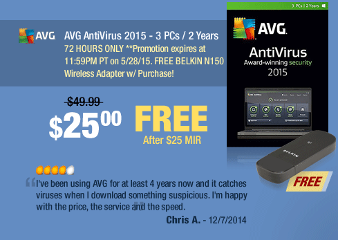 """AVG AntiVirus 2015 - 3 PCs / 2 Years. """"I've been using AVG for at least 4 years now and it catches viruses when I download something suspicious. I'm happy with the price, the service and the speed."""""""