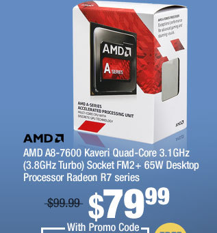 AMD A8-7600 Kaveri Quad-Core 3.1GHz (3.8GHz Turbo) Socket FM2+ 65W Desktop Processor Radeon R7 series