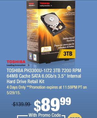 """TOSHIBA PH3300U-1I72 3TB 7200 RPM 64MB Cache SATA 6.0Gb/s 3.5"""" Internal Hard Drive Retail Kit"""