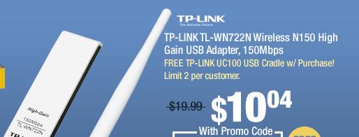 TP-LINK TL-WN722N Wireless N150 High Gain USB Adapter, 150Mbps