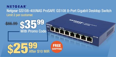 Netgear GS108-400NAS ProSAFE GS108 8-Port Gigabit Desktop Switch