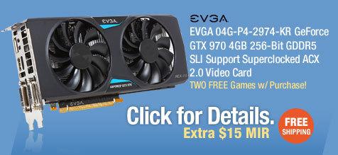 EVGA 04G-P4-2974-KR GeForce GTX 970 4GB 256-Bit GDDR5 SLI Support Superclocked ACX 2.0 Video Card