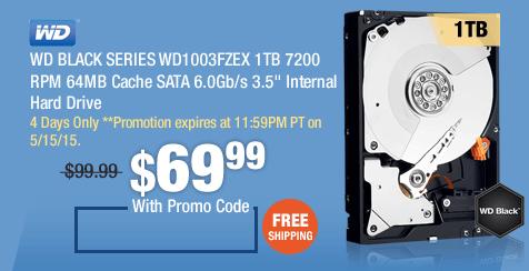 """WD BLACK SERIES WD1003FZEX 1TB 7200 RPM 64MB Cache SATA 6.0Gb/s 3.5"""" Internal Hard Drive"""