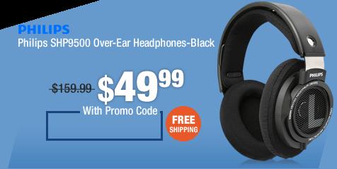 Philips SHP9500 Over-Ear Headphones-Black