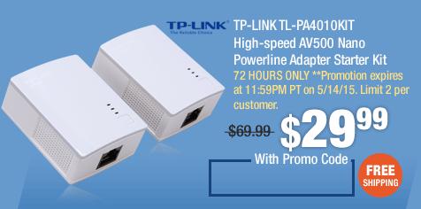 TP-LINK TL-PA4010KIT High-speed AV500 Nano Powerline Adapter Starter Kit