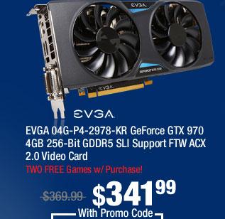 EVGA 04G-P4-2978-KR GeForce GTX 970 4GB 256-Bit GDDR5 SLI Support FTW ACX 2.0 Video Card