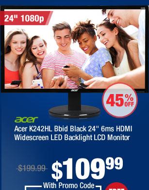"Acer K242HL Bbid Black 24"" 6ms HDMI Widescreen LED Backlight LCD Monitor"