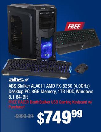 ABS Stalker ALA011 AMD FX-8350 (4.0GHz) Desktop PC, 8GB Memory, 1TB HDD, Windows 8.1 64-Bit