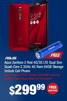 Asus Zenfone 2 Red 4G/3G LTE Dual Sim Quad-Core 2.3GHz 4G Ram 64GB Storage Unlock Cell Phone