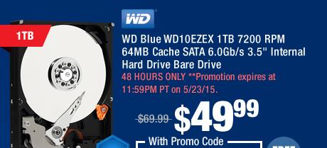 """WD Blue WD10EZEX 1TB 7200 RPM 64MB Cache SATA 6.0Gb/s 3.5"""" Internal Hard Drive Bare Drive"""