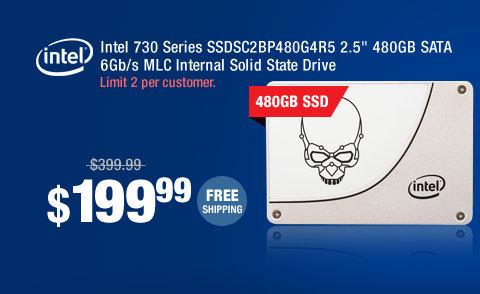 """Intel 730 Series SSDSC2BP480G4R5 2.5"""" 480GB SATA 6Gb/s MLC Internal Solid State Drive"""
