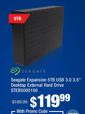 """Seagate Expansion 5TB USB 3.0 3.5"""" Desktop External Hard Drive STEB5000100"""